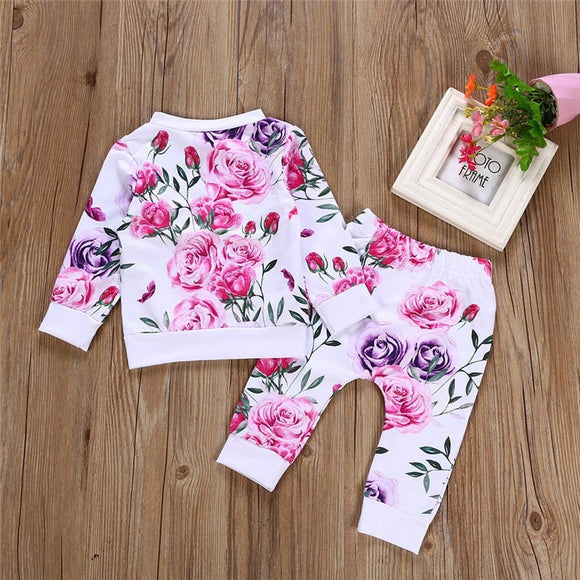 kid autumn suit Clothes Floral full sleeve O-Neck T shirt Tops+Pants 2PCS Outfits - Tania's Online Closet
