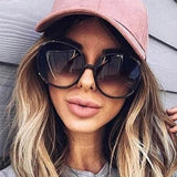 luxury round 2020 sunglasses woman Oversized female glasses gradient fashion - Tania's Online Closet