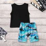 Cartoon Shark Toddler Kids Summer Tops+Shorts Outfits - Tania's Online Closet