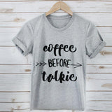 T Shirt Fashion coffee before talkie Printing Loose Tops - Tania's Online Closet
