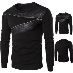 Men Winter Warm Splicing Leather Sweatshirt - Tania's Online Closet