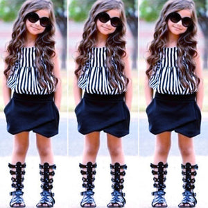 Girls Outfit Clothes Striped  Tops+Shorts Set - Tania's Online Closet
