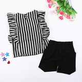 Girls Outfit Clothes Striped  Tops+Shorts Set - Tania's Online Closet, LLC
