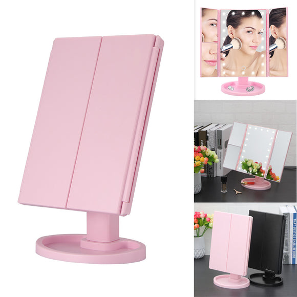 LED Makeup Mirror Lighted Touch Screen Magnifying 1X 2X 3X 180 Rotating 3 Folding Mirror - Tania's Online Closet, LLC