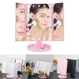 LED Makeup Mirror Lighted Touch Screen Magnifying 1X 2X 3X 180 Rotating 3 Folding Mirror - Tania's Online Closet