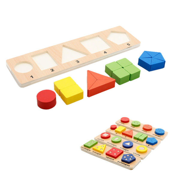 Color Shape Recognition Wooden Geometric Board Sorting Block Toys Kids Learning - Tania's Online Closet, LLC