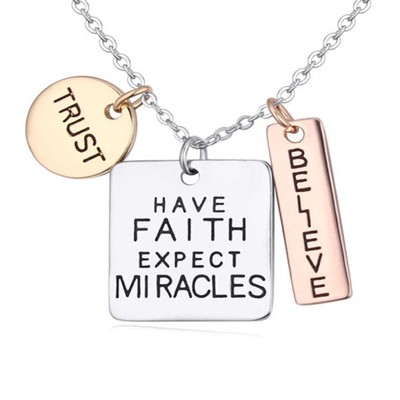 Trust Faith Believe Charm Pendant Neckless - Tania's Online Closet