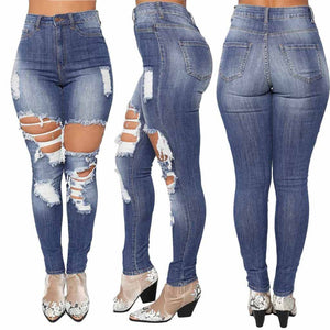 Women Jeans Denim Hole Waist Stretch - Tania's Online Closet
