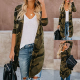 Ladies Long Cardigan Camouflage Long Sleeve Coat - Tania's Online Closet