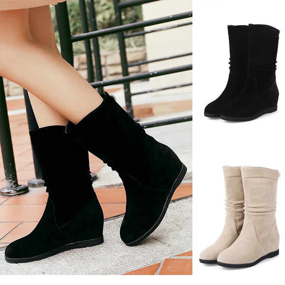 Winter  Women's Thick  Bottom  Round-Toe  Middle Boots - Tania's Online Closet, LLC