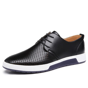 Men Casual Shoes Leather Summer Breathable Holes Luxurious Brand Flat Shoes - Tania's Online Closet