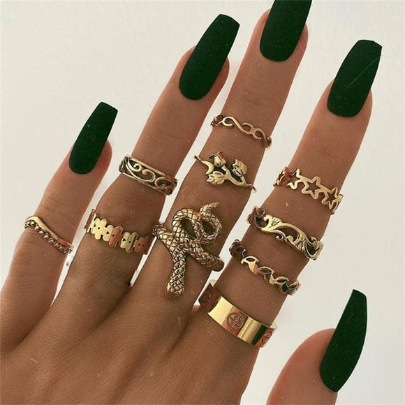 rings set Bohemian style hollow vintage 10-piece set women rings - Tania's Online Closet, LLC