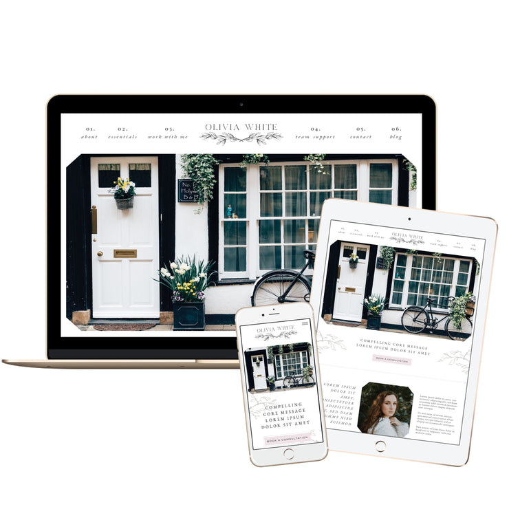 OLIVIA WHITE - Branded Website Template - Available on Wavoto