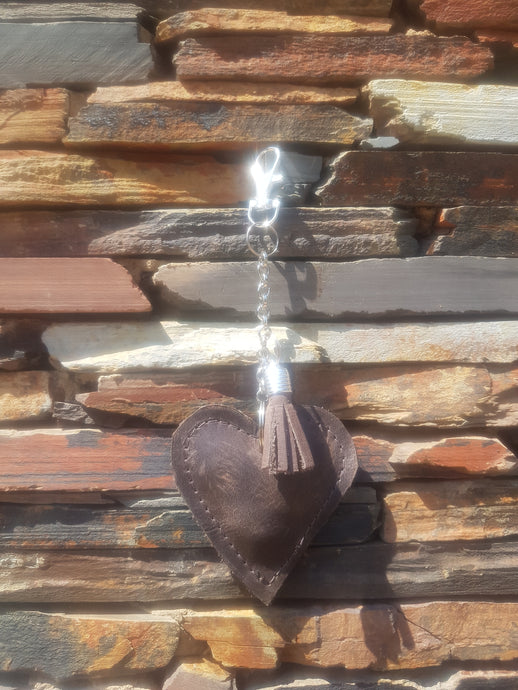 Heart Key Chain / Bag Accessory Matt Dark Brown