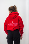 Red Embroidered Hoodie