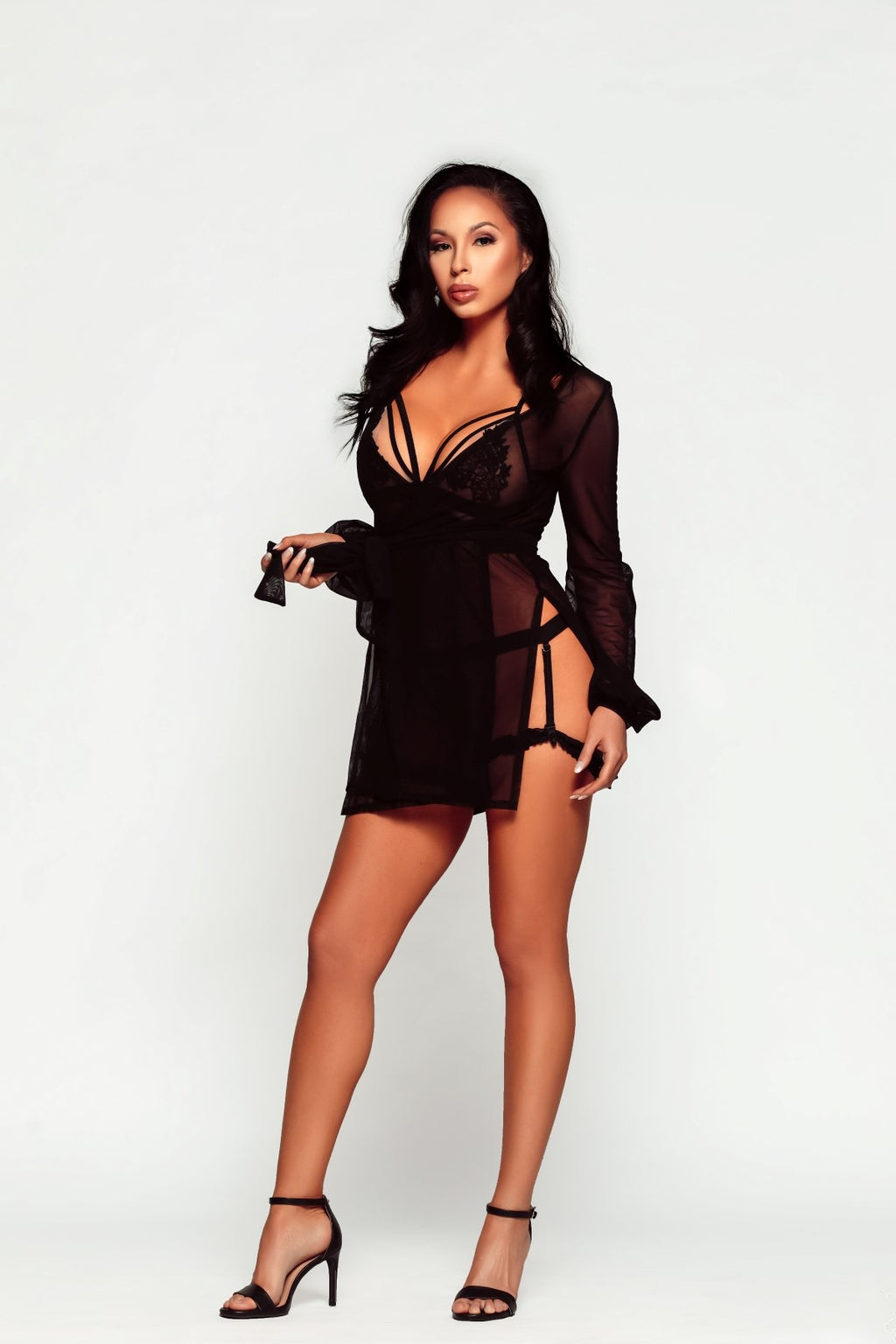 sexy black woman in heels wearing damita belle lingerie set online