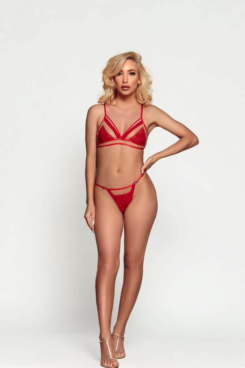 VALENTINA RED HOT BRA AND PANTY SET