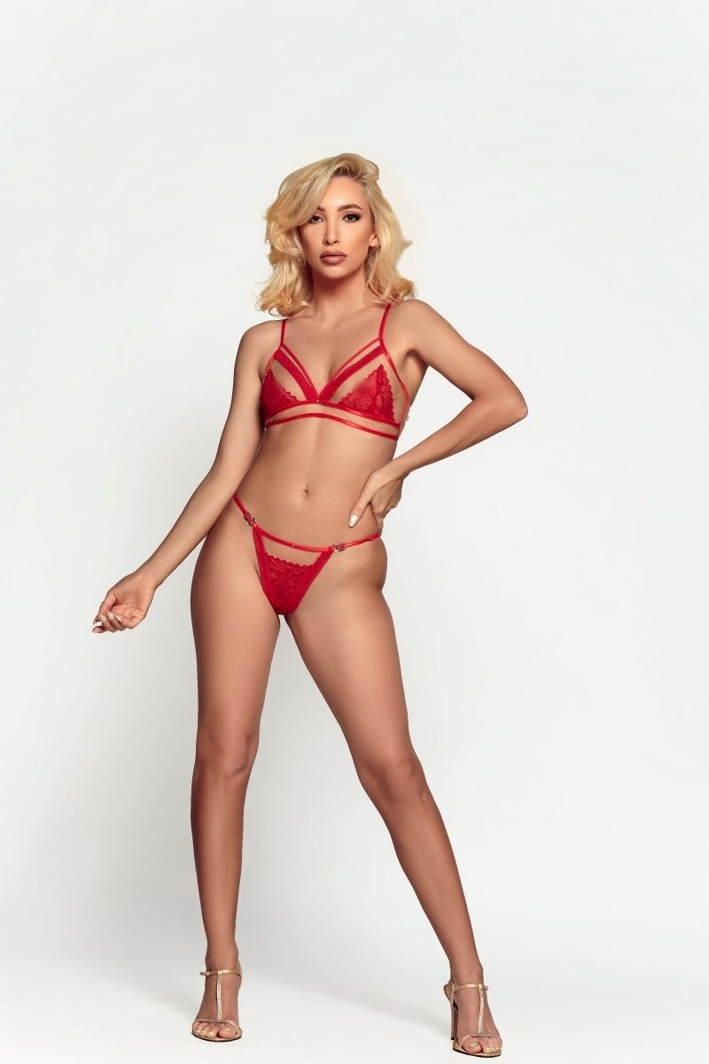 sexy fit model in red lingerie from damita belle