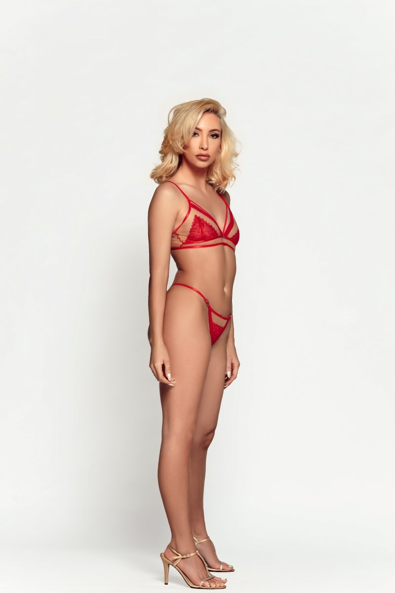 white female in sexy red lingerie set fro pool, resort, spa