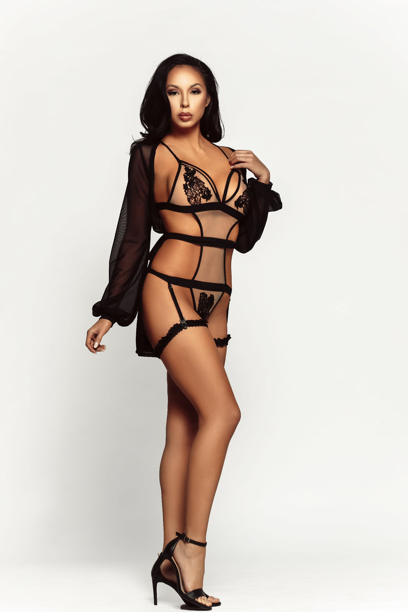 black mesh lingerie and robe set available online to buy | Damita Belle