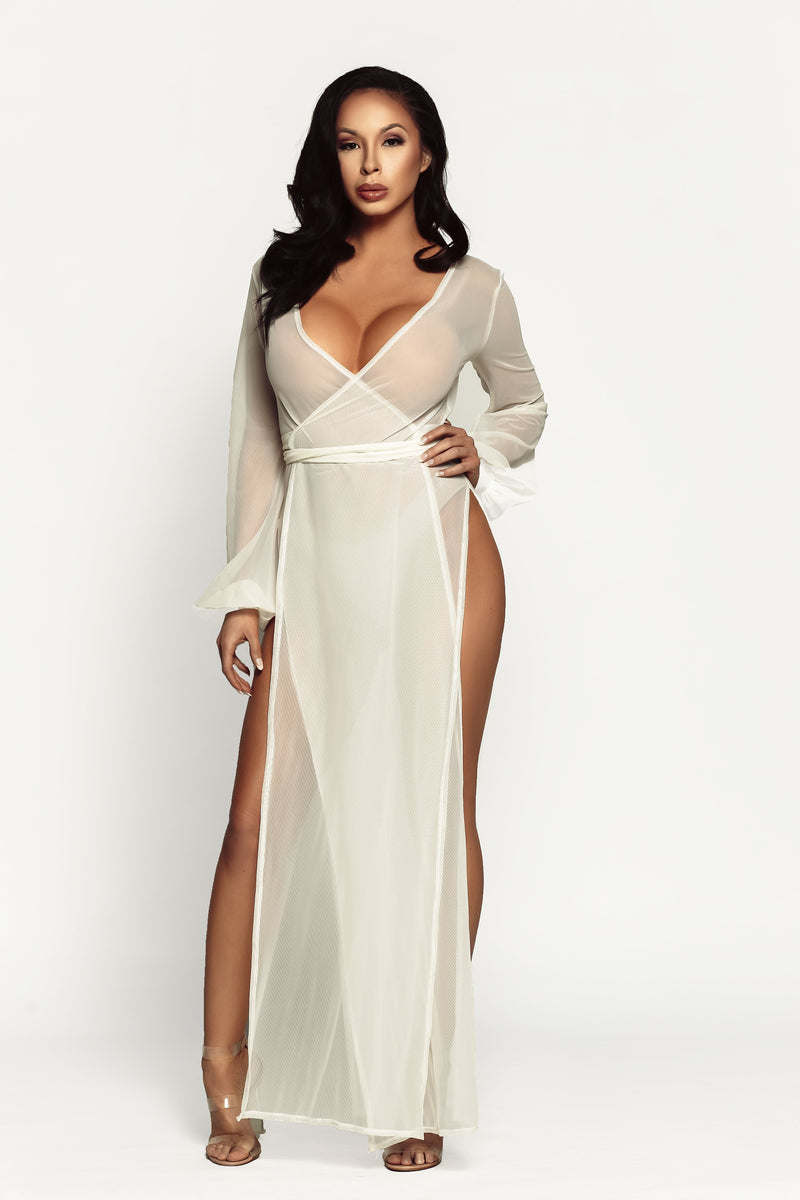 DAMITA SLIT WRAP ROBE - Off White
