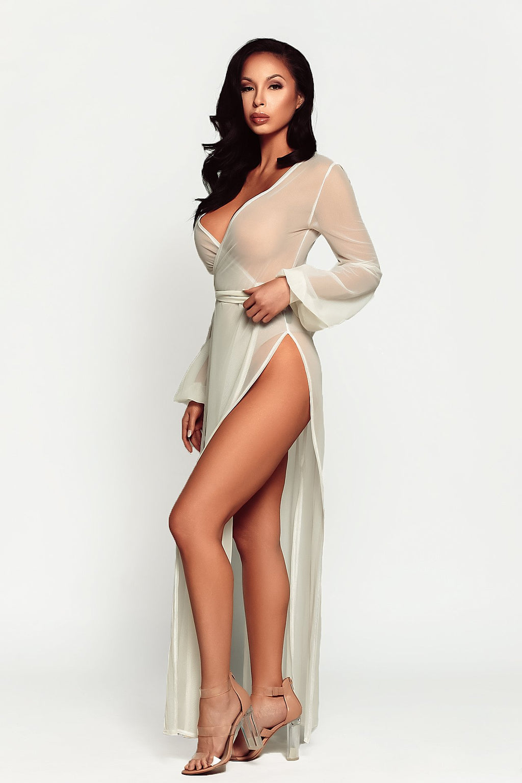 beautiful woman in cream white mesh robe for pool, resort, lingerie