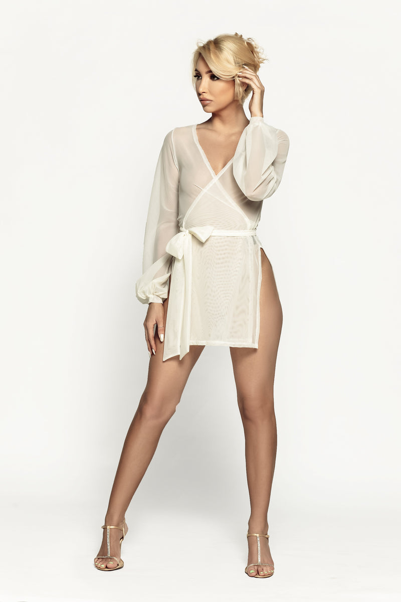 Damita Slit Wrap Robe Buttercream