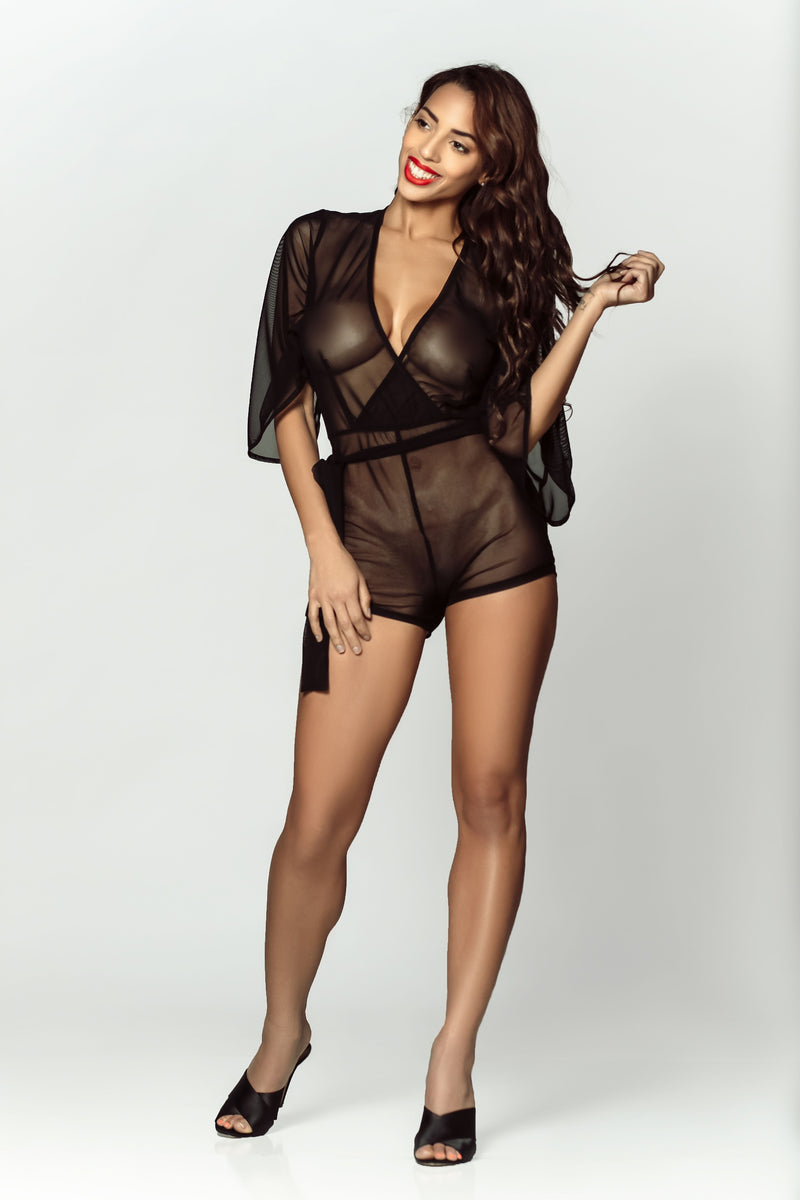 DAMITA MINI WRAP ROBE - Black
