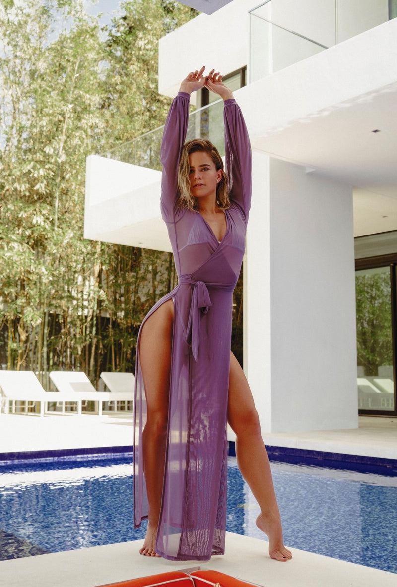 cute model in Damita Belle lingerie purple robe poolside