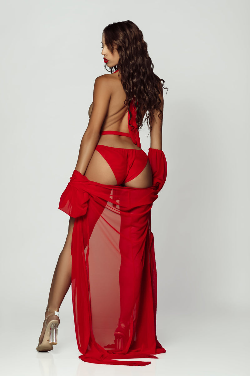 pretty woman in red robe lingerie set and robe online at Damita Belle