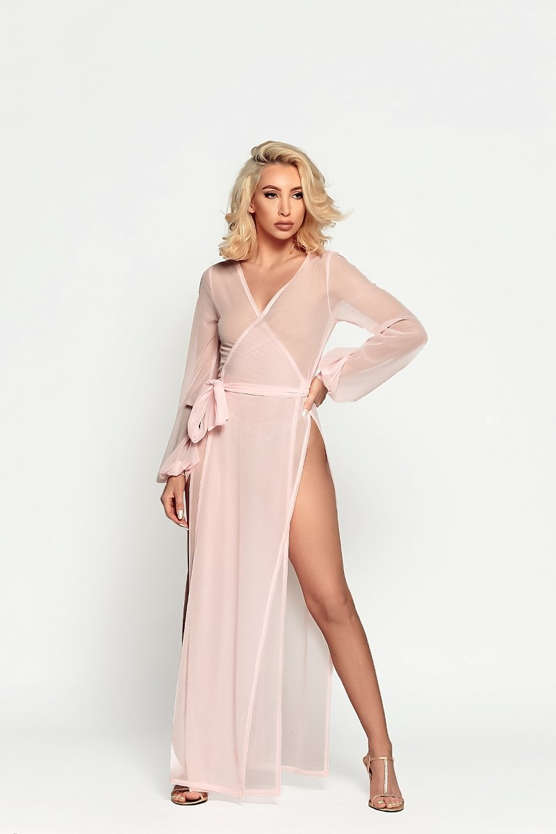 wrap-through robe from Damita Belle in Baby Pink
