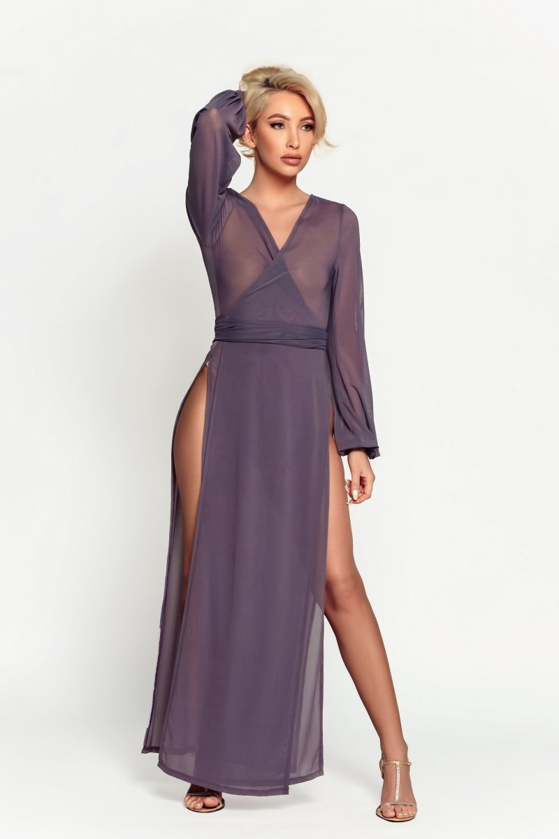 sexy woman in comfortable purple mesh long robe for resort, pool, lingerie