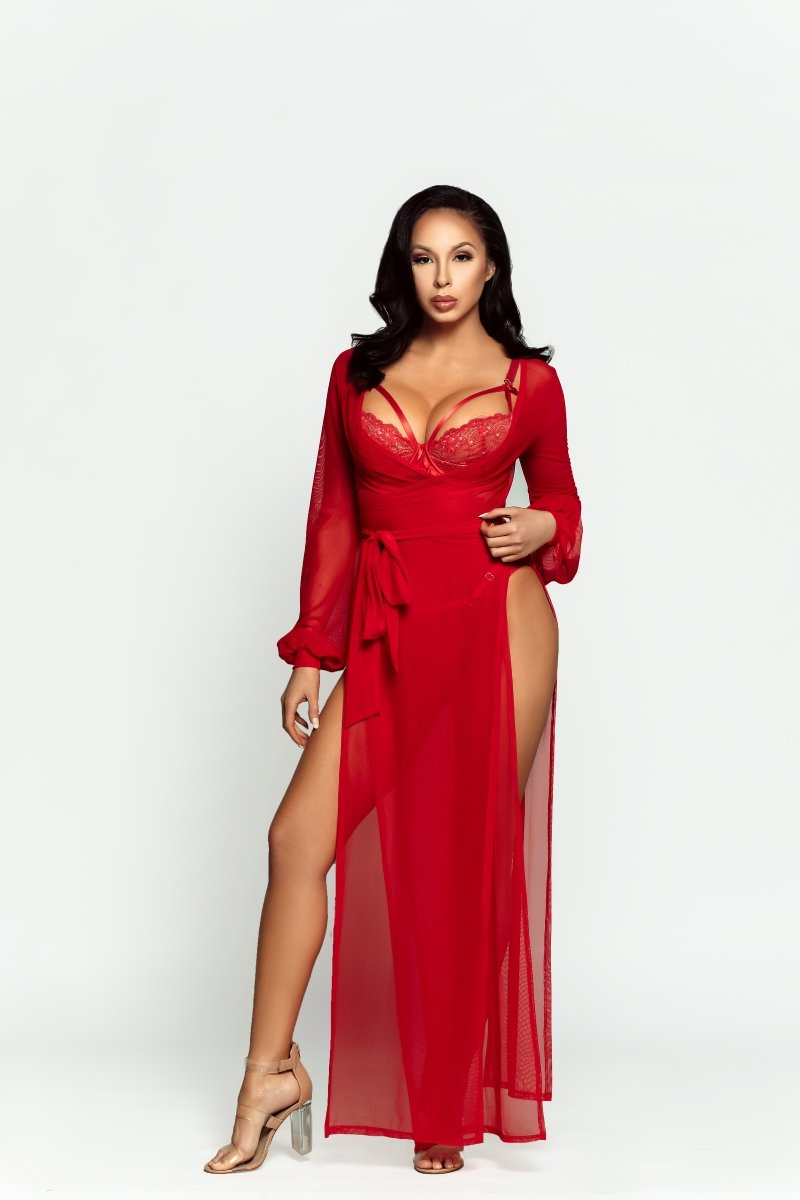 cute female in bright red lingerie robe available online | Damita Belle