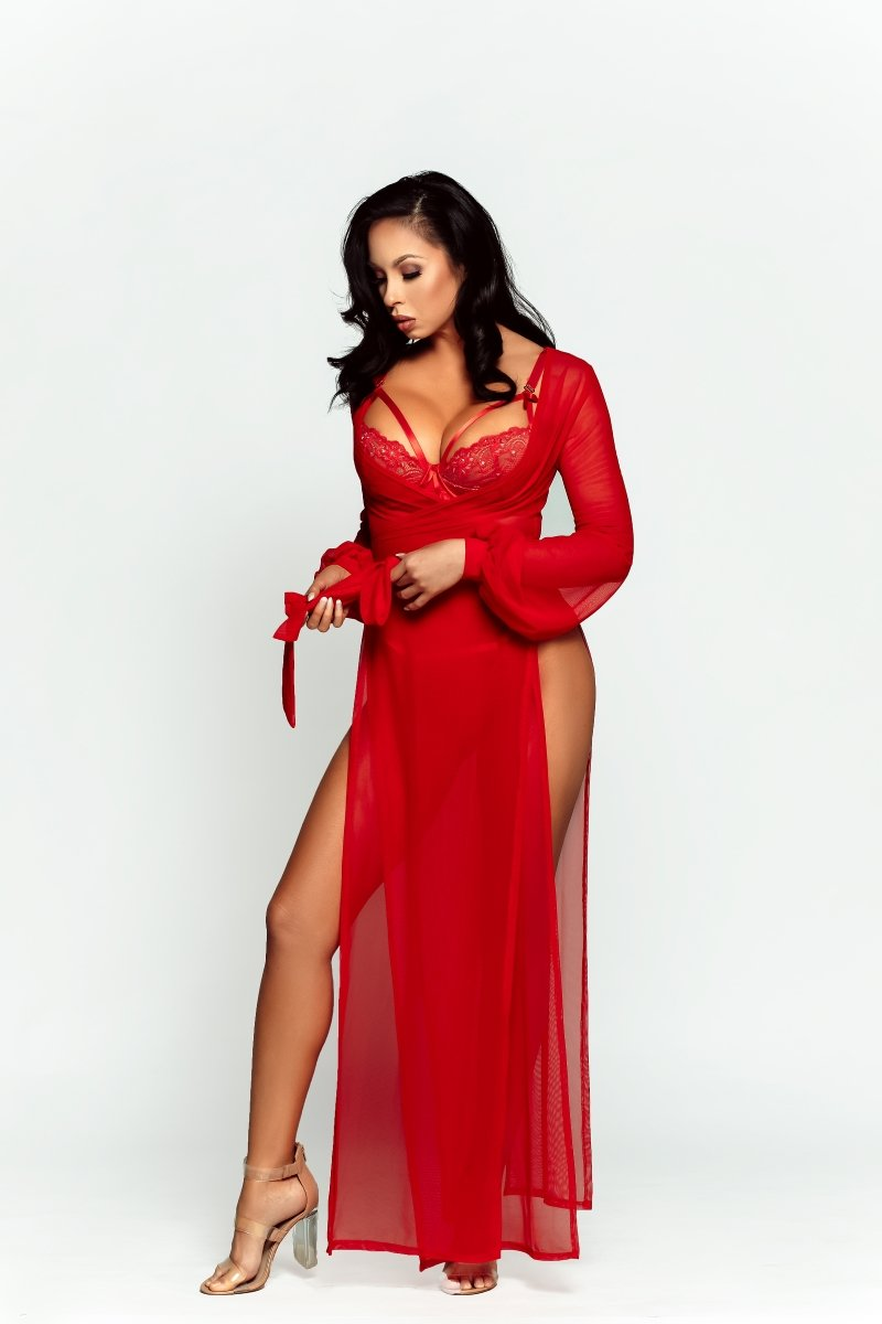 DAMITA SLIT WRAP ROBE - Red