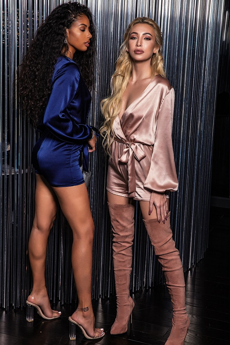 2 cute women in silk romper lingerie from Damita Belle (navy blue and blush pink)