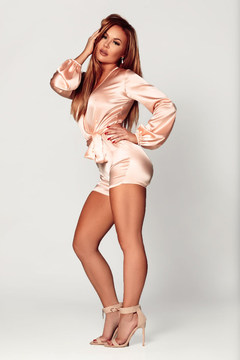 silk romper blush pink lingerie for day and night on woman