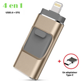 "Clé USB ""4 en 1"" pour IOS et Android (IPhone / IPad / Smartphone Android / Tablette)"