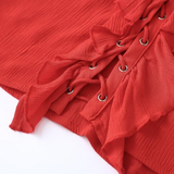 Ruffle Lace Up Long Sleeve Crop Top (Red or White)