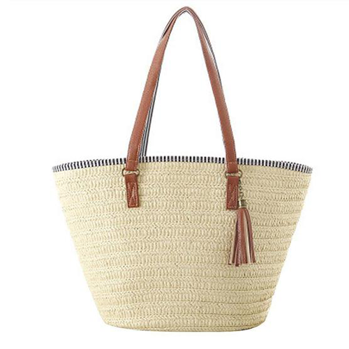 Light Beige Tote with Zipper Close Striped Fabric Lining (and Tassel)