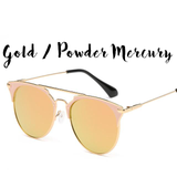 Vintage Round Mirror Sunglasses (Cat Eye Frame)