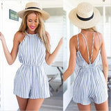 Blue and White Striped Backless Romper