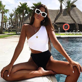 Black and White One Piece Monokini Swimsuit
