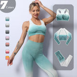 Women's 3 Piece Ombre Yoga Set (Leggings, Sports Bra, Long Sleeve Top)