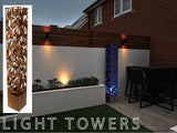 Laser Cut Bamboo design LED Light Tower CorTen - Henderson Garden Supply