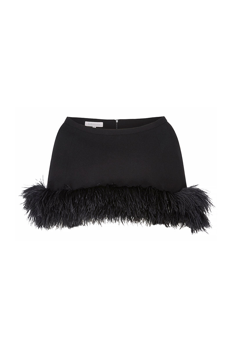 Feather Capelet Black