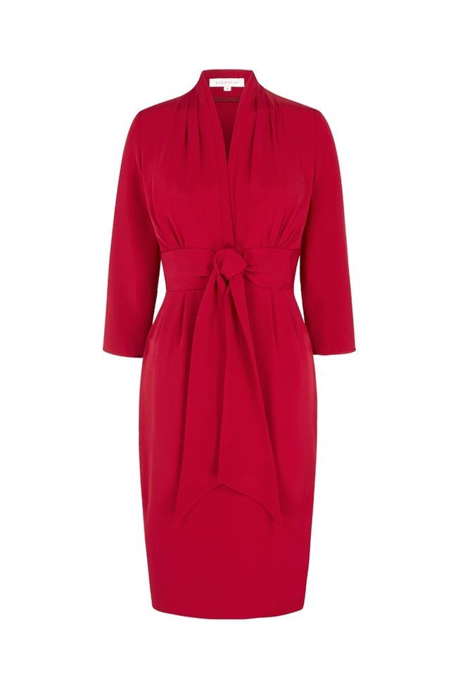 Silk Crepe 1940s Influence Dress in Scarlet