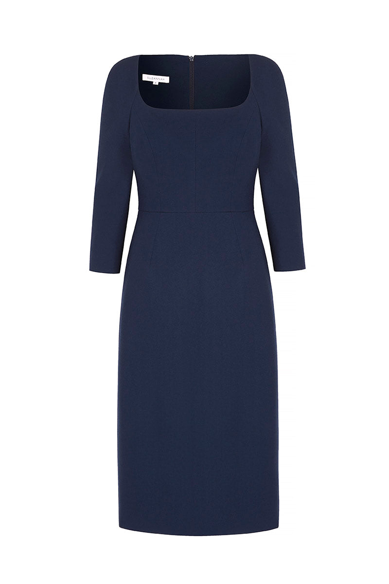 Selena Wool Crepe Shift Dress Navy