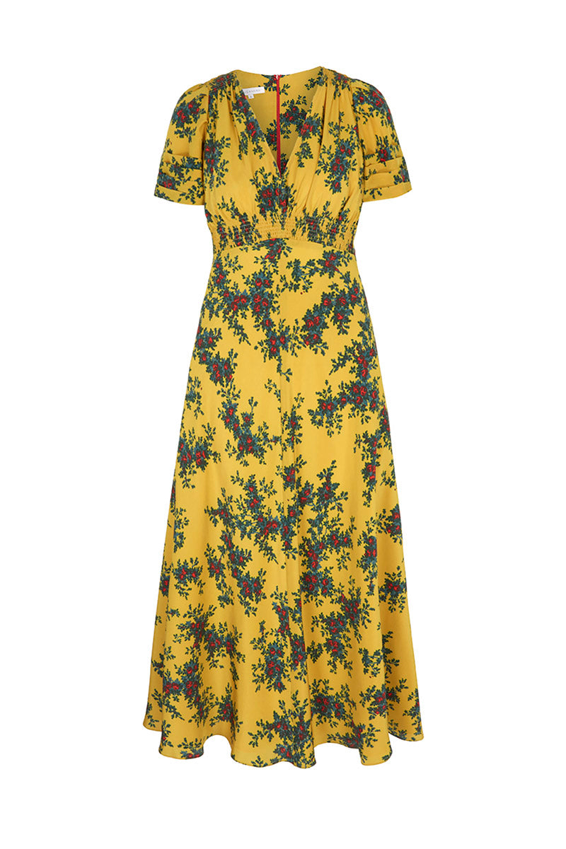 Ochre Faraway Floral Midi Length Tea Dress
