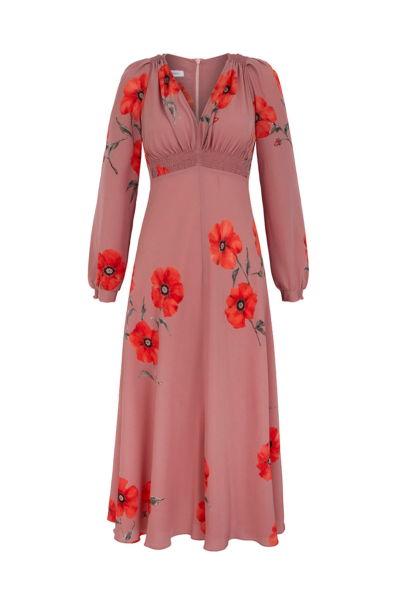 Long Sleeve Tea Rose Poppy Tea Dress