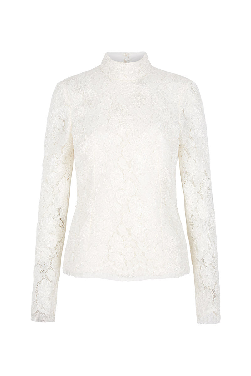 Embroidered Lace High Necked Blouse